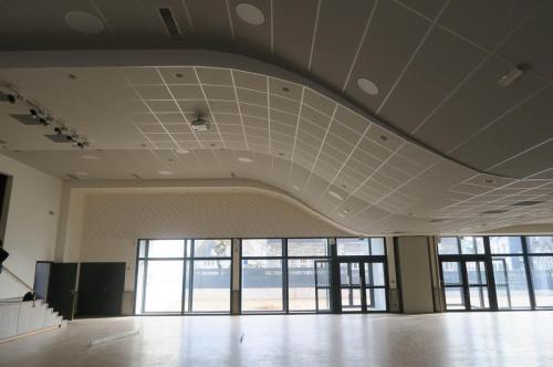 Plafond plâtre et fibre - Salle multifonction d'Evellys